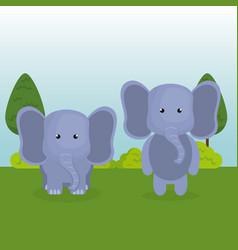 Cute elephants couple in the field landscape vector