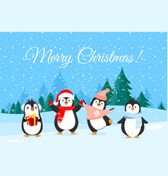 cute penguins in christmas vector image