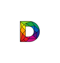 D colorful low poly letter logo icon design vector