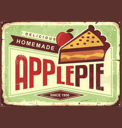 Delicious homemade apple pie retro promotional adv vector