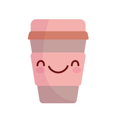 Disposable coffee cup character cartoon food cute vector