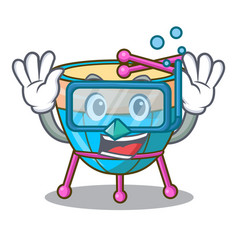 Diving cartoon timpani in the orchestra group vector