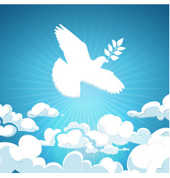 dove peace flying in sky white pigeon vector image