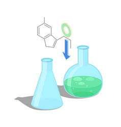 empty flask and with green chemical substance vector image