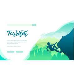 Extreme tourism landing page template vector