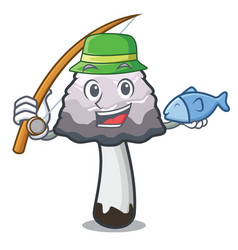 Fishing shaggy mane mushroom mascot cartoon vector