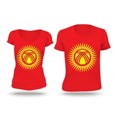 Flag shirt design of Kyrgyzstan vector image