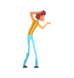 Flamboyant Know-it-all Guy Character In Blue Bow vector image