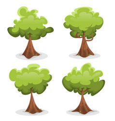 funny green trees set vector image