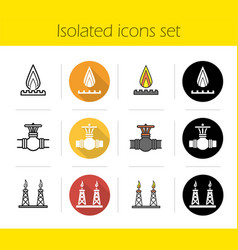 Gas industry icons set vector