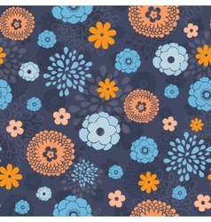 Golden and blue night flowers seamless vector