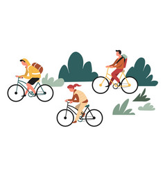 hiking or backpacking outdoor activity family vector image