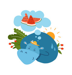 Hippo dreaming about watermelon flat hand drawn vector