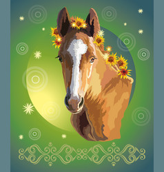 Horse portrait with flowers 32 vector