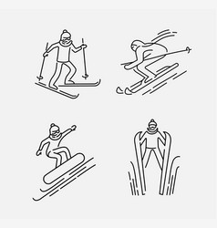 Icon and logo for snowboarding and skiing vector