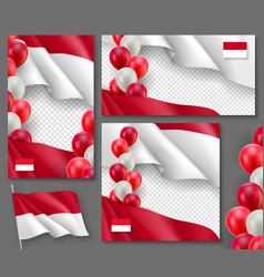 indonesian patriotic festive banners set vector image