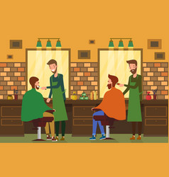 indoor view at barbershop salon with barber vector image