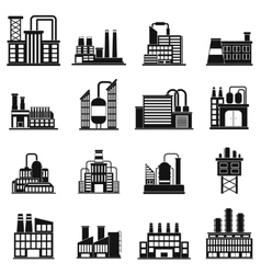 Industrial building factory simple icons vector