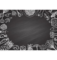 Ingredients on chalkboard vector