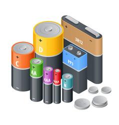 Isometric alkaline battery accumulators alkaline vector