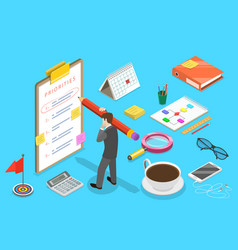 isometric concept priorities list vector image
