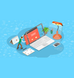 isometric flat concept web page design vector image