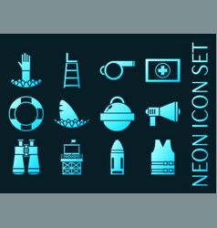lifeguard set icons blue glowing neon style vector image