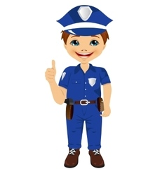 Little boy in police uniform giving thumbs up vector
