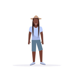 long haired casual man standing pose smiling vector image