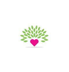 love heart valentine green leaf eco logo vector image