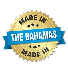 Made in The Bahamas gold badge with blue ribbon vector
