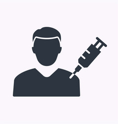 man and syringe glyph icon on white background vector image