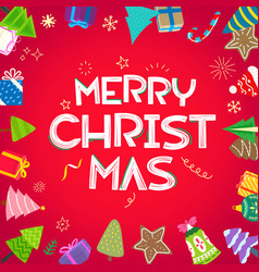 Merry christmas banner with doodle elements vector