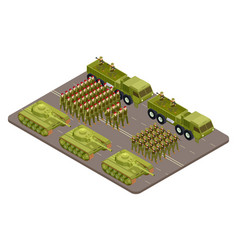 Military parade isometric with soldiers vector