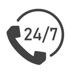 Monochrome 24 7 support icon vector