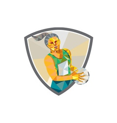Netball Player Holding Ball Low Polygon vector