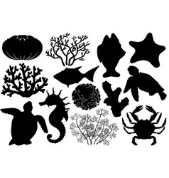 ocean life organisms silhouettes vector image