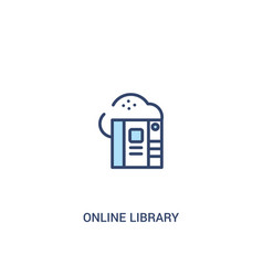 Online library concept 2 colored icon simple line vector