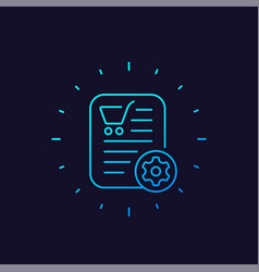 Order processing icon e-commerce linear vector