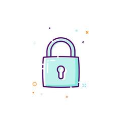 padlock icon thin line flat design icon concept vector image