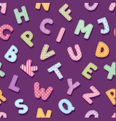 patchwork alphabet typography letters cute vintage vector image