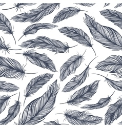 Pattern with Blue Feathers vector image
