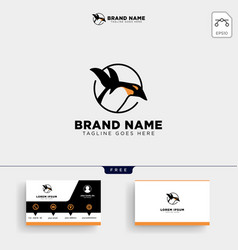 Penguins logo template and business card vector
