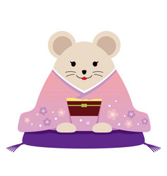 personified rat dressed in japanese kimono vector image