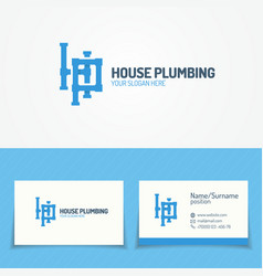 Plumbing service logo set with pipelines vector