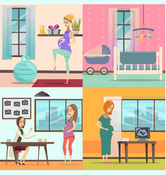 Pregnancy icon set vector