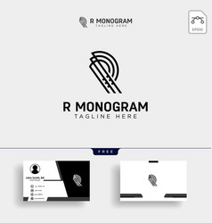 premium letter r logo with business card design vector image
