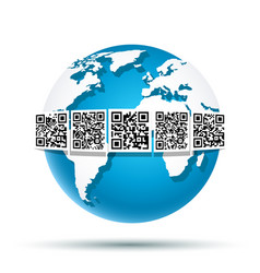 qr code on earth vector image
