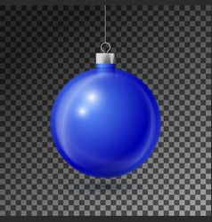Realistic blue christmas ball with silver ribbon vector