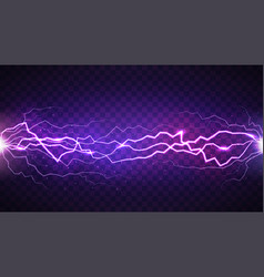 realistic lightning isolated on dark transparent vector image